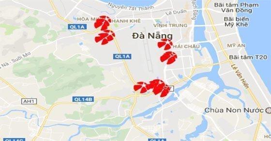Một số điểm bán Mega 6/45 được đánh dấu trên bản đồ quận Cẩm Lệ