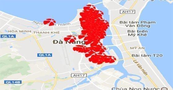 Các điểm bán Mega 6/45 được đánh dấu trên bản đồ quận Hải Châu