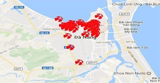 Một số điểm bán Mega 6/45 được đánh dấu trên bản đồ quận Thanh Khê
