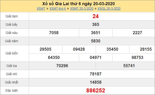Bảng KQXS Gia Lai thứ 6hôm trước ngày 20/3/2020