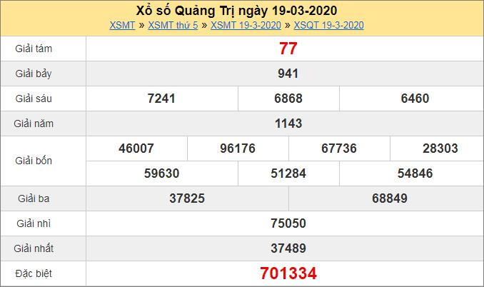 Bảng KQXS Quảng Trị thứ 5hôm trước ngày 19/3/2020