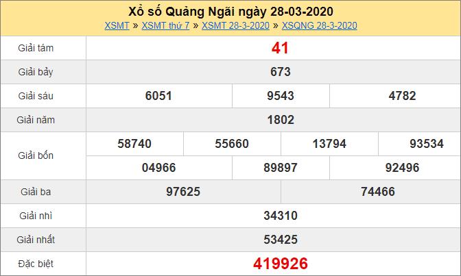 Bảng KQXS Quảng Ngãi thứ 7hôm trước ngày 28/3/2020