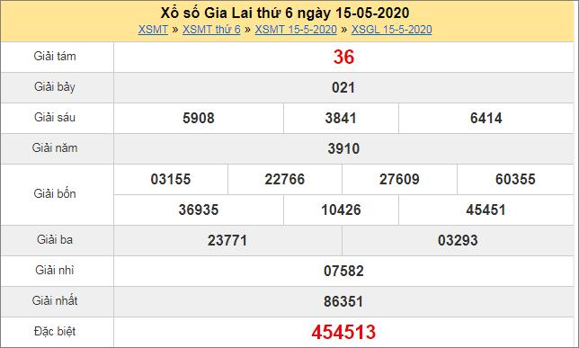 Thống kê kết quả xổ số miền Trung – XSGL 15/5/2020