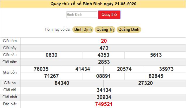Quay thử xổ số MT - XS Bình Định hôm nay T5 ngày 21/5/2020