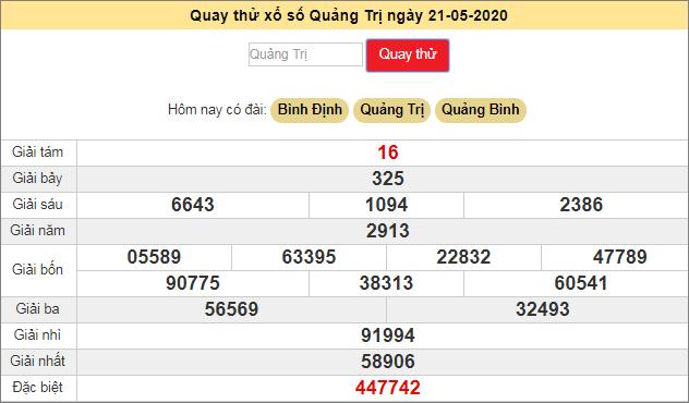 Quay thử xổ số MT - XS Quảng Trị hôm nay T5 ngày 21/5/2020