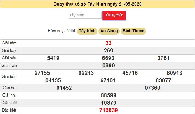 Quay thử xổ số MN - XS Tây Ninh hôm nay T5 ngày 21/5/2020