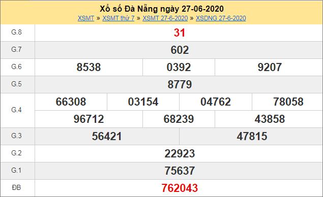 Thống kê kết quả xổ số miền Trung – XSDNG 27/6/2020