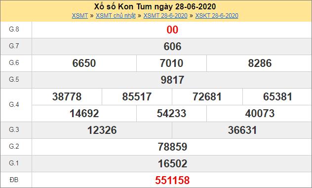 Thống kê kết quả xổ số miền Trung – XSKTUM 28/6/2020