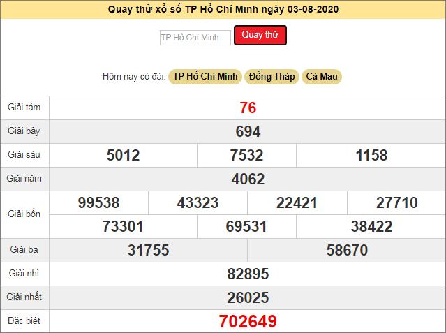 Quay thử xổ số MN - XS Hồ Chí Minh hôm nay T2 ngày 3/8/2020