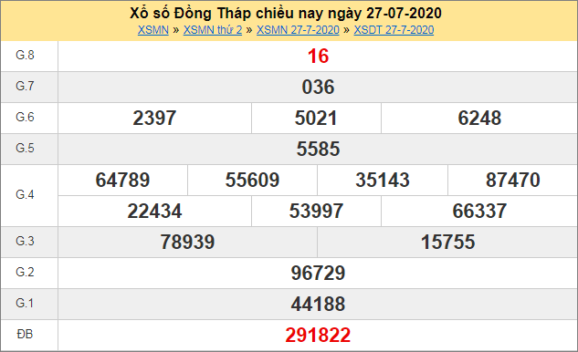 Thống kê kết quả xổ số miền Nam – XSDT 27/7/2020 thứ haituần trước