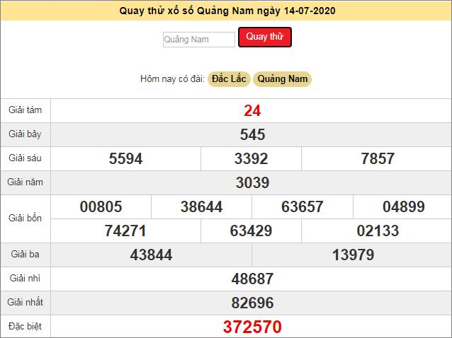 Quay thử xổ số MT - XS Quảng Nam hôm nay T3 ngày 14/7/2020