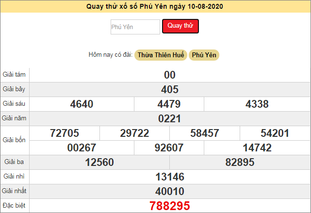 Quay thử xổ số MT - XS Phú Yên hôm nay T2 ngày 10/8/2020