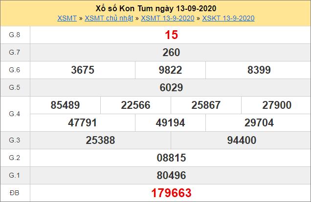 Bảng thống kê kết quả Kon Tum ngày 13/9/2020 tuần trước