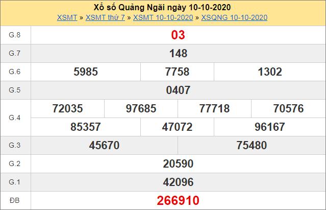 Bảng thống kê kết quả Quảng Ngãi ngày 10/10/2020 tuần trước