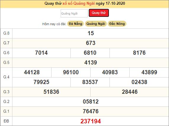 Quay thử kết quả ngày hôm nay17/10/2020 đài Quảng Ngãi