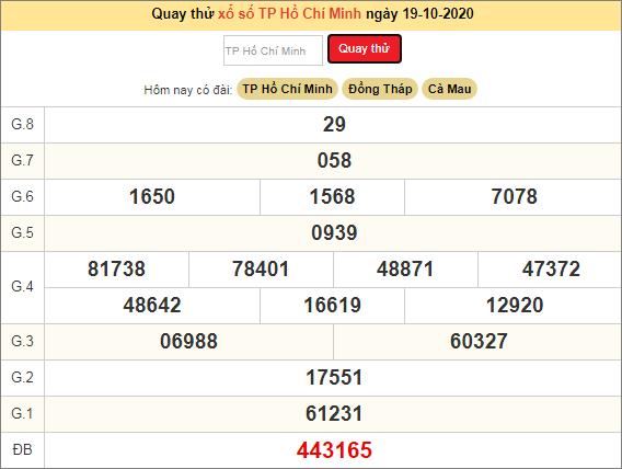 Quay thử kết quả Hồ Chí Minh hôm nay ngày 19/10/2020