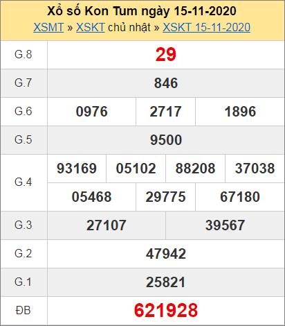 Bảng thống kê kết quả Kon Tum ngày 15/11/2020 tuần trước