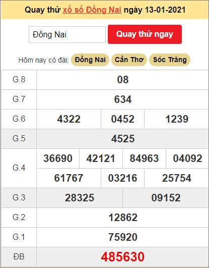 Quay thử kết quả ngày hôm nay13/1/2021 đài Đồng Nai