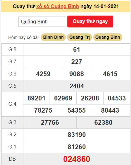 Quay thử kết quả ngày hôm nay14/1/2021 đài Quảng Bình