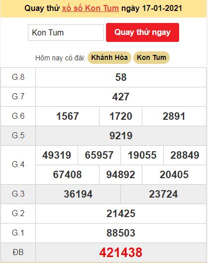 Quay thử kết quả ngày hôm nay17/1/2021 đài Kon Tum