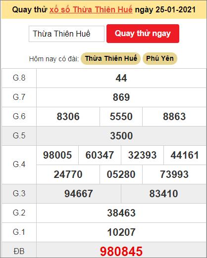 Quay thử kết quả ngày hôm nay25/1/2021 đài Thừa Thiên Huế
