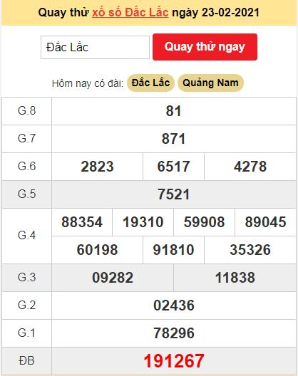 Quay thử kết quả ngày hôm nay23/2/2021 đài Đắc Lắc