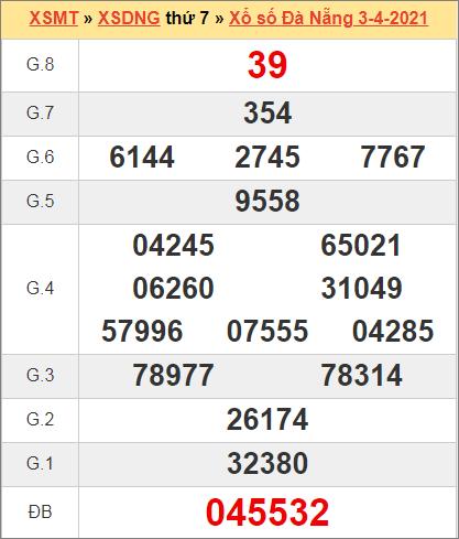 Kết quả Đà Nẵng ngày 3/4/2021 tuần trước