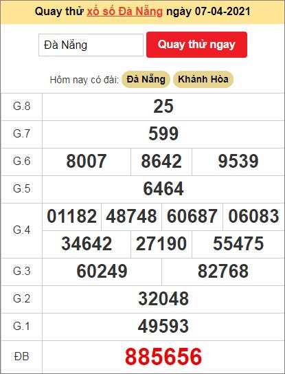 Quay thử kết quả ngày hôm nay7/4/2021 đài Đà Nẵng