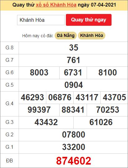 Quay thử kết quả ngày hôm nay7/4/2021 đài Khánh Hòa