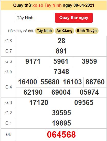 Quay thử kết quả ngày hôm nay8/4/2021 đài Tây Ninh