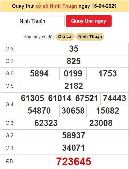 Quay thử kết quả ngày hôm nay16/4/2021 đài Ninh Thuận