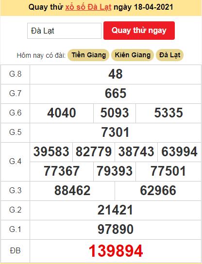 Quay thử kết quả ngày hôm nay18/4/2021 đài Đà Lạt