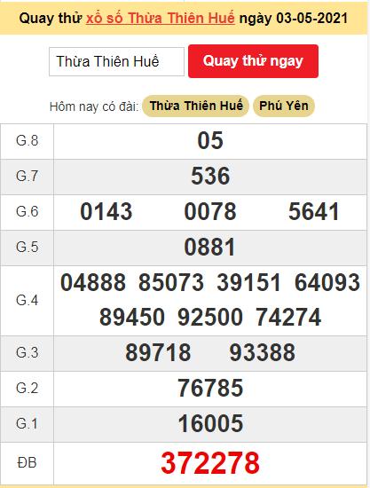 Quay thử kết quả ngày hôm nay3/5/2021 đài Thừa Thiên Huế