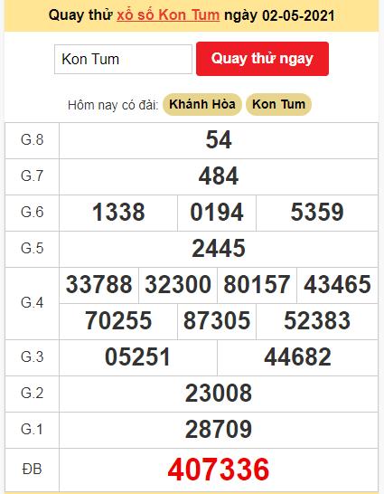 Quay thử kết quả ngày hôm nay2/5/2021 đài Kon Tum