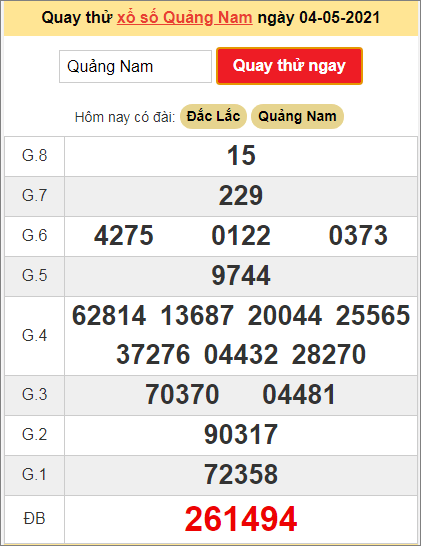 Quay thử kết quả ngày hôm nay4/5/2021 đài Quảng Nam