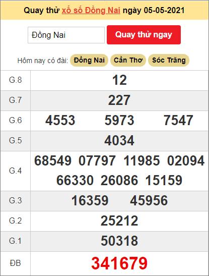 Quay thử kết quả ngày hôm nay5/5/2021 đài Đồng Nai