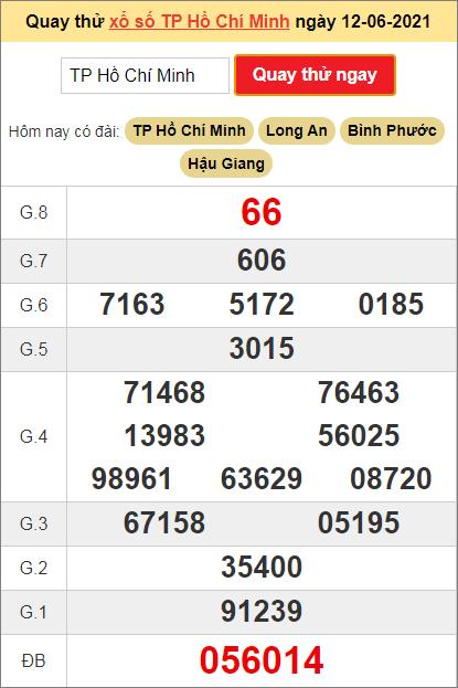 Quay thử kết quả Hồ Chí Minh hôm nay ngày 12/6/2021