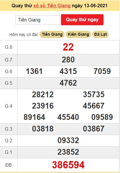 Quay thử kết quả ngày hôm nay13/6/2021 đài Tiền Giang