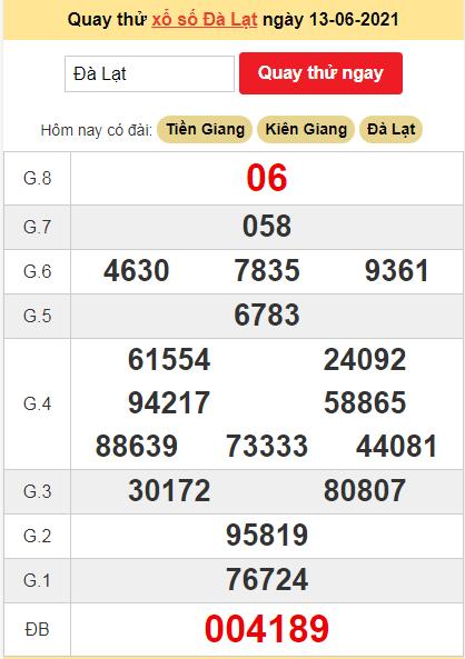 Quay thử kết quả ngày hôm nay13/6/2021 đài Đà Lạt
