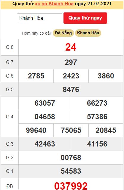 Quay thử kết quả ngày hôm nay21/7/2021 đài Khánh Hòa