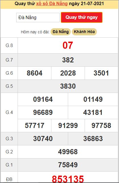 Quay thử kết quả ngày hôm nay21/7/2021 đài Đà Nẵng