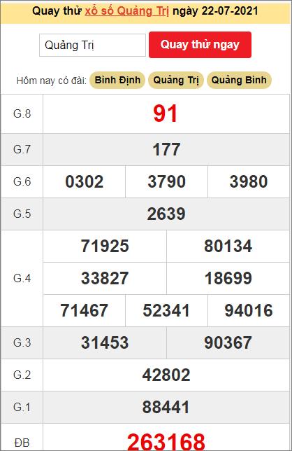 Quay thử kết quả ngày hôm nay22/7/2021 đài Quảng Trị