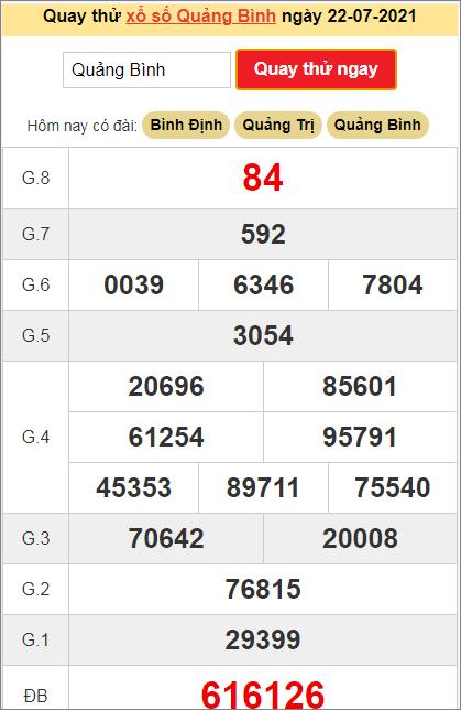 Quay thử kết quả ngày hôm nay22/7/2021 đài Quảng Bình
