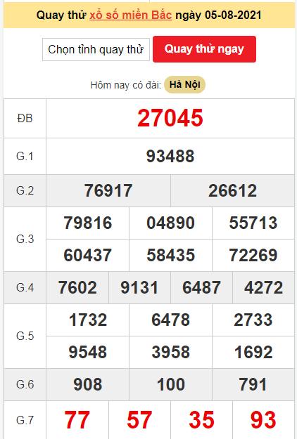 Quay thửXSMBngày 5/8/2021 lấy may hôm nay