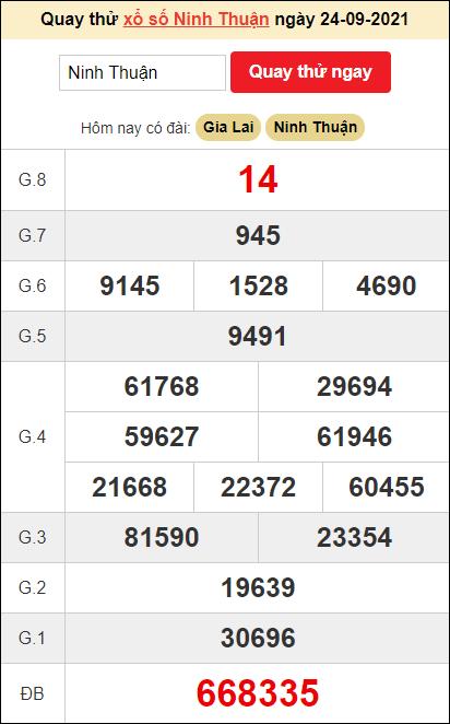 Quay thử XSKT đàiNinh Thuậnngày hôm nay24/9/2021